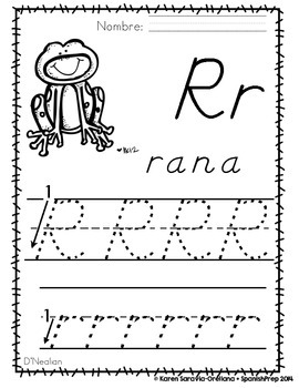 "Spanish Alphabet Handwriting Practice & Posters: ""R de Rana"""