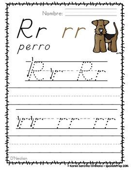 "Spanish Alphabet Handwriting Practice & Posters: ""RR en Perro"""