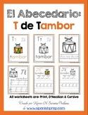 "Spanish Alphabet Handwriting Practice & Posters: ""T de Tambor"""