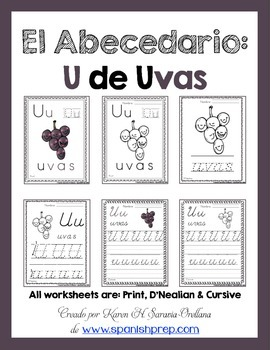 "Spanish Alphabet Handwriting Practice & Posters: ""U de Uvas"""