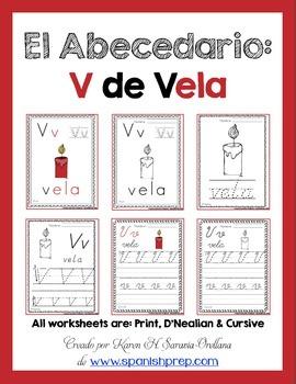 "Spanish Alphabet Handwriting Practice & Posters: ""V de Vela"""