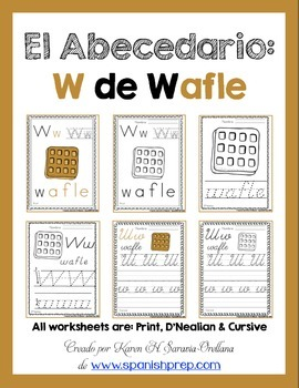 "Spanish Alphabet Handwriting Practice & Posters: ""W de Wafle"""
