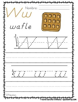 "Spanish Alphabet Handwriting Practice & Posters: ""W de Wafle"""