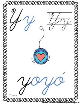 """Spanish Alphabet Handwriting Practice & Posters: """"Y de Yoyo"""""""