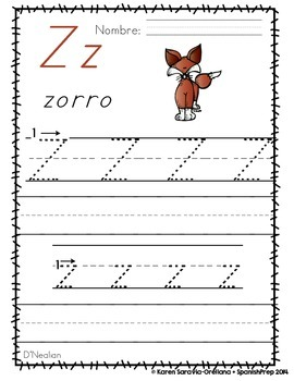 "Spanish Alphabet Handwriting Practice & Posters: ""Z de Zorro"""