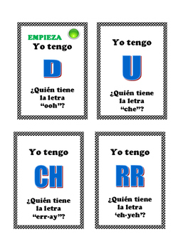 Spanish Alphabet- I have, Who has game