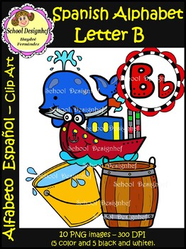 Spanish Alphabet Letter B(Alfabeto letra B) : Clipart