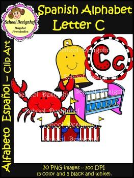 Spanish Alphabet Letter C - Clip Art / Alfabeto letra C (School Designhcf)