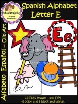 Spanish Alphabet Letter E - Clip Art / Alfabeto letra E (School Design)