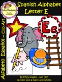 Spanish Alphabet Letter E - Clip Art / Alfabeto letra E (School Designhcf)
