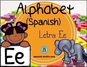 Spanish Alphabet. Letter Ee/ Letra Ee