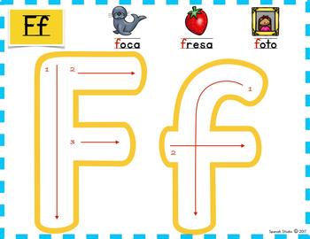 Spanish Alphabet. Letter Ff/ Letra Ff