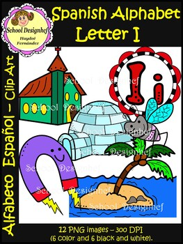 Spanish Alphabet Letter I - Clip Art / Alfabeto letra I (School Design)