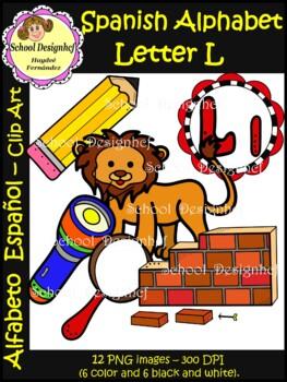 Spanish Alphabet Letter L - Clip Art / Alfabeto letra L (School Design)