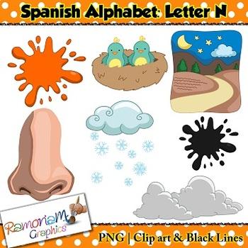 Spanish Alphabet Letter N Clip art