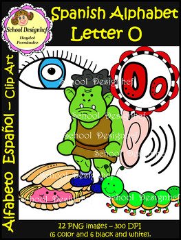 Spanish Alphabet Letter O - Clip Art / Alfabeto Letra O (School Design)