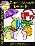Spanish Alphabet Letter P - Clip Art / Alfabeto Letra P (School Designhcf)