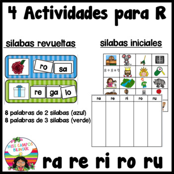 Spanish Alphabet Letter R - 4 Rompecabezas (ra, re, ri, ro, ru Review Puzzles)