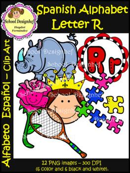 Spanish Alphabet Letter R - Clip Art / Alfabeto Letra R (School Design)