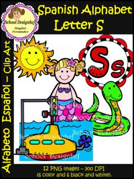 Spanish Alphabet Letter S - Clip Art / Alfabeto Letra S (S