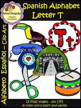 Spanish Alphabet Letter T - Clip Art / Alfabeto Letra T (School Designhcf)