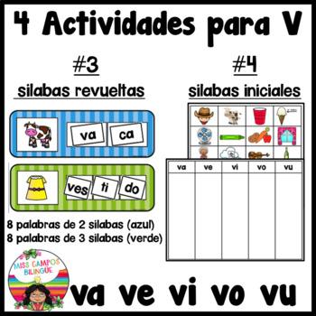 Spanish Alphabet Letter V - 4 Rompecabezas (va, ve, vi, vo, vu Review Puzzles)