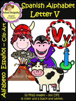 Spanish Alphabet Letter V - Clip Art / Alfabeto Letra V (S