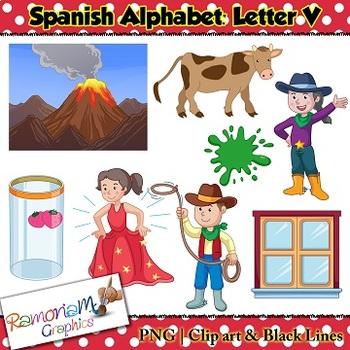 Spanish Alphabet Letter V Clip art