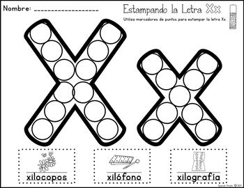 Spanish Alphabet. Letter Xx/ Letra Xx