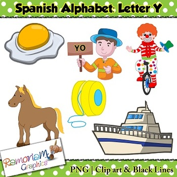 Spanish Alphabet Letter Y Clip art by RamonaM Graphics | TpT