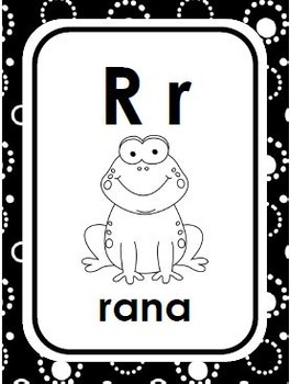 Spanish Alphabet Letter/Picture Cards in color and black & white