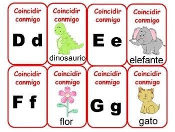 Match mine: Spanish Alphabet Initial Sounds -  Coincidir conmigo