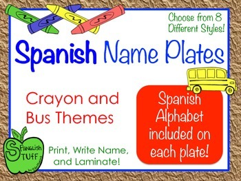 Spanish Alphabet Name Plates