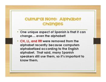 Spanish Alphabet Notes