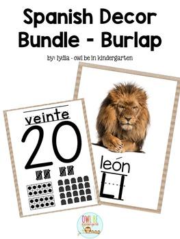 El alphabeto y numeros - Spanish Alphabet & Number Posters - Burlap