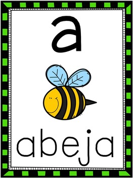 Spanish Alphabet Picture Cards
