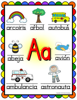 Spanish Alphabet Posters - Beginning Sounds  (Rainbow Scallop Frame)