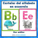 Spanish Alphabet Posters Watercolor Classroom Decor