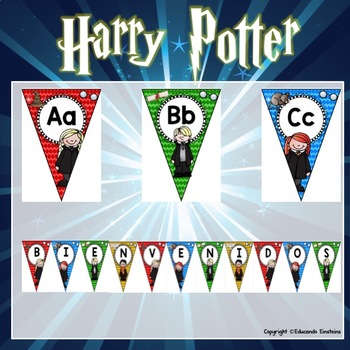 Spanish Alphabet Posters, bunting and pennants: magic school