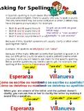 Spanish Alphabet Practice-Asking for spelling of names