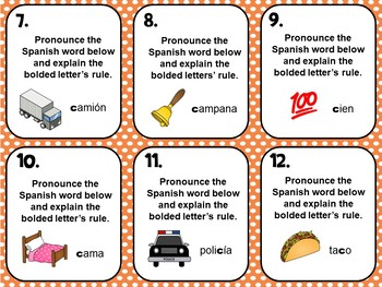 Spanish Alphabet Pronunciation Practice Flash Cards_Letter C