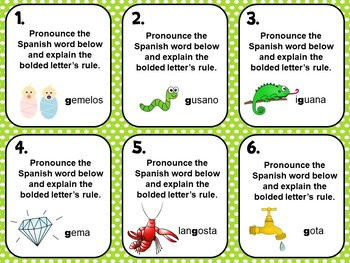 Spanish Alphabet Pronunciation Practice Flash Cards_Letter G