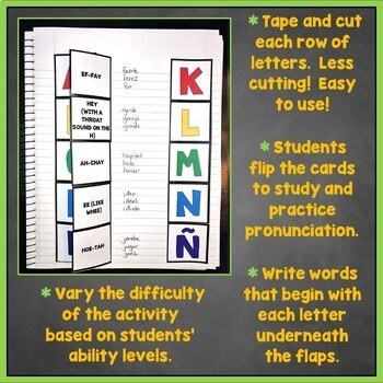 Spanish Alphabet Flashcards, Punctuation Interactive Notebook, Alfabeto