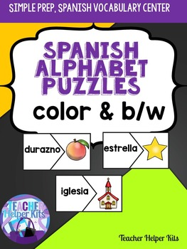Spanish Alphabet Puzzles-alfabeto y vocabulario-Rompecabezas