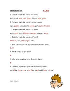 Spanish Alphabet, Spelling, Pronunciation, Word Stress - El alfabeto - 4 pages!