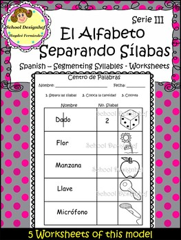 Spanish Alphabet Syllables Serie III-Separando Sílabas Español(School Designhcf)