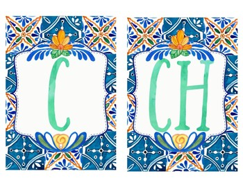 Spanish Alphabet - Talavera Tile Theme
