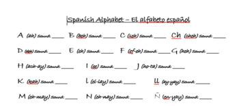 Spanish Alphabet Teaching & Notes Sheet