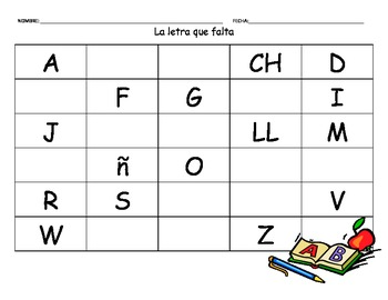 Spanish alphabet the missing letter worksheet la letra que falta spiritdancerdesigns