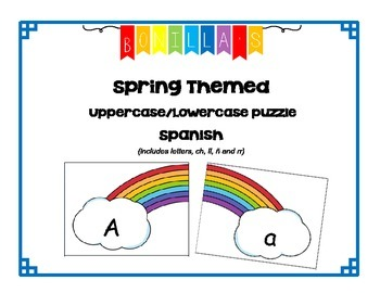 "Spanish Alphabet Uppercase and Lowercase Puzzle - Spring ""rainbow"" theme"